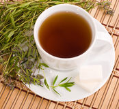 Cup of herbal tea. The cup of herbal tea with thyme on bamboo mat background Royalty Free Stock Image
