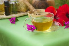 A cup of herbal tea. Afternoon tea spa day. A cup of herbal tea on a spa table Stock Photos