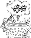 A cup of herbal tea and coffee for a good day. Coloring book for Adult Stock Images