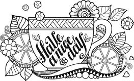 A Cup Of Herbal Tea And Coffee For Good Day Coloring Book Adult