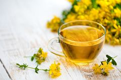 A cup of herbal tea with tutsan. A cup of herbal tea decorated with tutsan on the grunge wooden table Royalty Free Stock Images