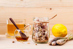 Cup of herbal tea with dried lemon grass Stock Images