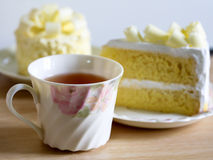 Cup of herbal tea and fresh cakes. Stock Images