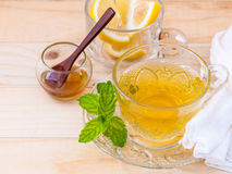 Cup of herbal tea with fresh green mint Stock Photography