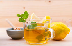 Cup of herbal tea with fresh green mint Royalty Free Stock Images