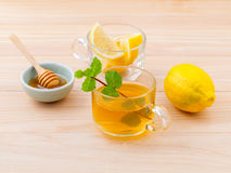 Cup of herbal tea with fresh green mint Stock Photo