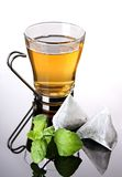 Cup of herbal tea with fresh mint and teabags royalty free stock photos