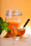 Cup of herbal tea and honey. Mint and lemon stock photography