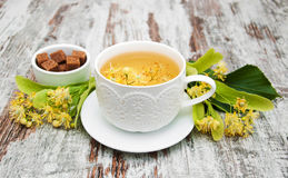 Cup of herbal tea with linden flowers Stock Photos