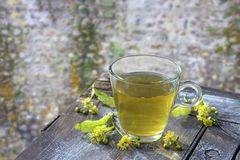 Healthy herbal linden tea with fresh linden flowers on wooden table Cup of organic linden tea, herbal drink with old Royalty Free Stock Photo