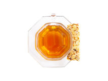 Cup of herbal tea and organic granola Royalty Free Stock Image