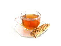 Cup of herbal tea and organic granola Royalty Free Stock Photography