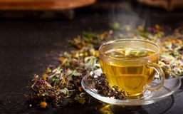 Cup of herbal tea with various herbs Royalty Free Stock Photos
