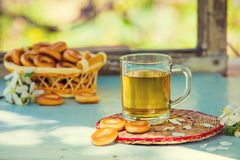 A cup of herbal tea. On a wooden table in the garden Royalty Free Stock Image