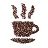 Cup hergestellt von gebratenem Kaffee auf einem weißen Hintergrund Stockfotos