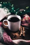 Cup with herlands, Christmas and New Year, Cozy still life details in the living room. composition with Cup Royalty Free Stock Images