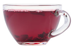 Cup of hibiscus tea. Glass cup of hibiscus tea Stock Images