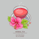 Cup of hibiscus tea. On color background Stock Photo