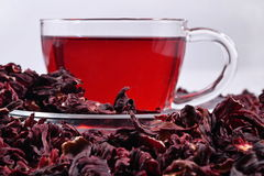 Cup of hibiscus tea Royalty Free Stock Photo