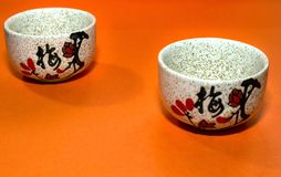 Cup with a hieroglyph on an orange background. On a cup painted Chinese plum Royalty Free Stock Photos