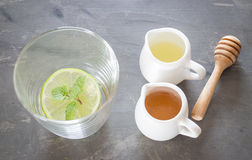 Cup of honey lime healthy drink Royalty Free Stock Photography