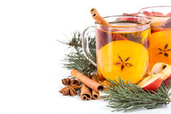 Cup of hot apple cider with cinnamon, anise Royalty Free Stock Photo