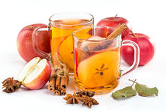 Cup of hot apple cider with cinnamon, anise Stock Image
