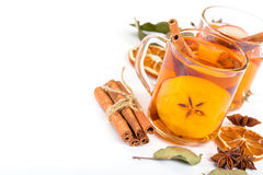 Cup of hot apple cider with cinnamon, anise and orange Stock Images