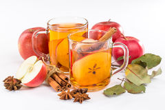 Cup of hot apple cider with cinnamon, anise and orange Stock Photography