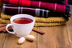 Cup of hot berry tea Pile of woolen clothes on wooden background Autumn winter food concept Tea Nut Blanket Scarf Cinnamon Copy sp Stock Images