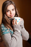A cup of hot beverage. Royalty Free Stock Photo