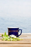 Cup of hot beverage with cherry blossom Royalty Free Stock Images