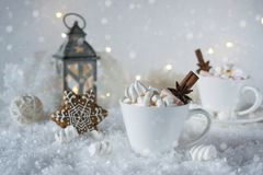 Cup of hot beverage with marshmallow and spices Royalty Free Stock Images