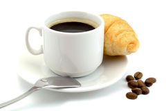 Cup of hot black coffee with a coffee beans and croissant isolated on a  white background Royalty Free Stock Images