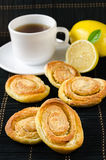 Cup of hot black tea, lemon, homemade cookies Stock Images