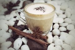 Cup with hot cappuccino Stock Photography