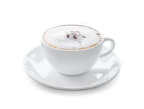 Cup of hot cappuccino coffee isolated on white background. With clipping path Stock Images
