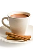 Cup of hot chocolate. With cinnamon sticks royalty free stock image