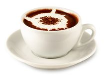 Cup of hot chocolate. (with clipping path for easy background removing if needed Royalty Free Stock Photo