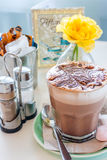 Cup of hot chocolate. Early morning breakfast at Auckland cafe, New Zealand stock image