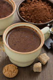 Cup of hot chocolate and amaretti cookies Royalty Free Stock Images