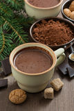 Cup of hot chocolate and amaretti cookies on a wooden table Stock Photos