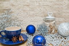 A cup of hot chocolate, blue and silver colors, Christmas mock u royalty free stock photos