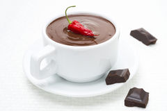 Cup of hot chocolate with chili Royalty Free Stock Image