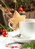 Cup of hot chocolate and Christmas cookie Stock Image