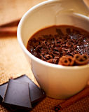 Cup of hot chocolate with cinnamon Royalty Free Stock Photography
