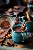 Cup of hot chocolate with a cinnamon stick Stock Images