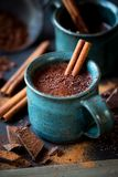 Cup of hot chocolate with a cinnamon stick Royalty Free Stock Photography