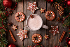 Cup of hot chocolate or cocoa with stars and round Stock Photography