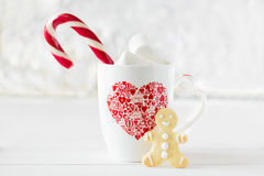 Cup of hot chocolate with gingerbread cookie Stock Photos